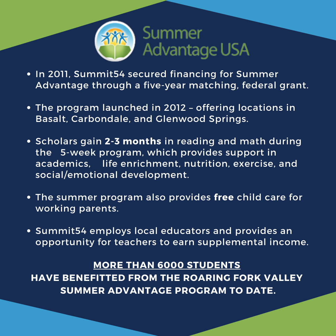 In 2011, Summit54 sponsored two classes - 54 students - to participate in the College Track program. (1)